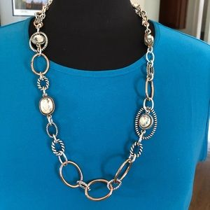 Premier Designs silver and rose gold necklace